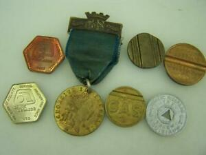Assortment of tokens GAS, Public Welfare, phone & Good Old Days with hangar 2908