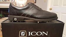 2014 Footjoy FJ ICON Mens Golf Shoes 52276 NEW Black/Shield Toe 12M  $349 RET