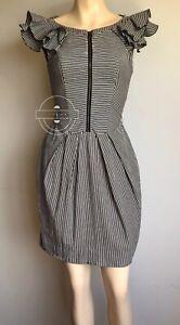 CUE Stripe Dress Size 6 With Pockets