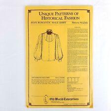 1830s Romantic Male Shirt Unique Patterns of Historical Fashion #832MS Cut