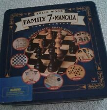 """Solid Wood Family 7+ Mancala Game Center In Large Tin Box New Other 12""""x12""""x3.5"""""""