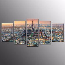 FRAMED Canvas Wall Art Home Decor Paris Cityscape Canvas Painting Print-5pcs