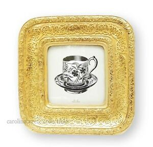Photo Frame Ornate Embossed Scrollwork Lightly Antiqued Gold for 4x4 Picture