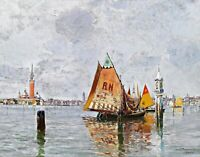Fishing boats lagoon of Venice by Carlo Brancaccio. Canvas Boat Art. 11x14 Print