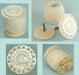 Antique Mother of Pearl Workbox Spool / Reel & Thread * English * Circa 1850