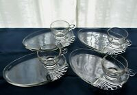 Hazel Atlas Federal Glass 4 Clear Columbia Parti-Ade Snack Plate & Cup Sets