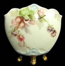 Antique Delinieres & Co France Painted Porcelain Rounded Splay Vase - Berries