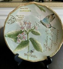 """FITZ & FLOYD Toulouse 9"""" Lunch / Salad Plate - Embossed Butterflies - Green EUC"""