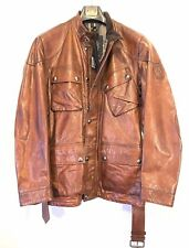 BELSTAFF Mens Panther Trialmaster Leather Jacket Cognac Brown (MSRP $1,895)