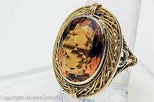 ANTIQUE 10 ct MADEIRA CITRINE 14K GOLD WOVEN FILIGREE COCKTAIL RING Sz.8
