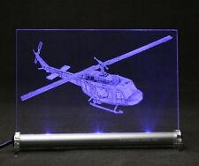 Hubschrauber Bell UH 1D als Gravur auf LED-Schild Helli