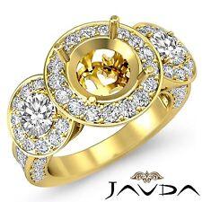 3 Stone Diamond Engagement 1.3Ct 18k Yellow Gold Round Semi Mount Pre-Set Ring