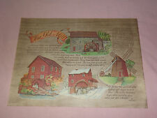 """VINTAGE  14"""" X 11"""" PAPER PLACEMAT THE OLD MILL"""
