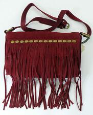 NWT LUCKY BRAND NIRVANA Lthr CROSS BODY FRINGE CRANBERRY Handbag Purse $158