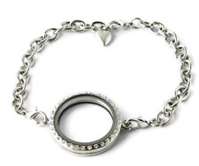 Stainless Steel 30mm Round Floating Charm Locket Bracelet With Security Clasp