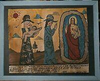Mexican Retablo/Ex Voto Prayers to Jesus for Sick Baby Very Rustic Signed Velez