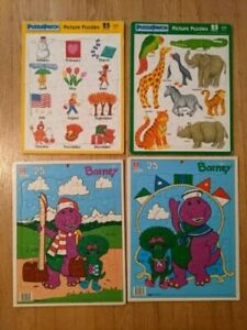 Vintage 25 Piece Puzzles Lot of 4 - Barney, Months & Animals