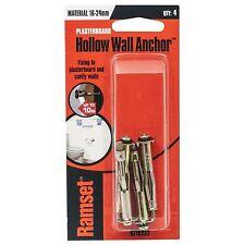 Ramset HOLLOW WALL ANCHOR 16-24mm 4Pcs Light Duty, Large Flange *AUST Brand