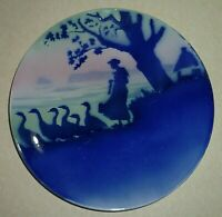Antique Georges Dreyfus Signed Gede French Faience Plate Geese Girl