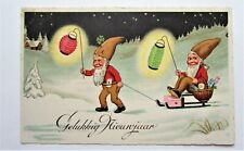 Gnomes Elves Paper Lanterns Sled with Basket of Treats New Year Postcard
