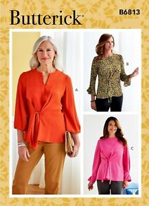 Butterick B6813 Tie Front Tunic Top w/ Neck Slv Opts Sewing Pattern Sz 16-24 FF