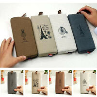 Retro Canvas Pencil Pen Case Cosmetic Makeup Coin Pouch Zipper Bag Purse TOPSALE