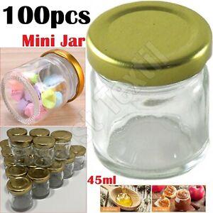 100pc 45ML Glass Mini Jam jars Airtight Preserve Honey Bottles Jar Pot With Lids