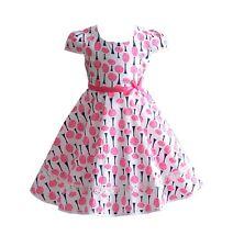 ROSA para niña Verano Algodón Vestido De Fiesta 4 5 6 7 8 años