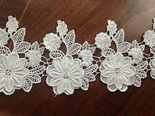 Floral Flower Leaf Venise Guipure Lace Trim -Off  White - 11 cm Wide/ 1 yard