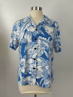 Hilo Hattie Top Large Womens Hawaiian Shirt Blue Hibiscus Flowers Aloha Floral