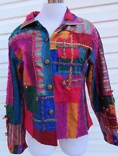 SANDY STARKMAN Women's SZ M Multi Color Patchwork Lined Button Jacket