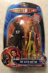 """Doctor Who  6th Doctor & Stealth Cyberman 5"""" Action Figure Set NEW 6th Attack"""