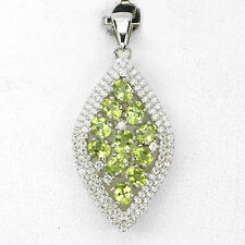 NATURAL GREEN PERIDOT,& CZ Accents 14K ON STERLING 925 SILVER PENDANT ChainFree