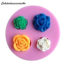 4 Silicona Flor Rosa Forma Molde Pasteles Chocolate Pasta de Azúcar ACABADO