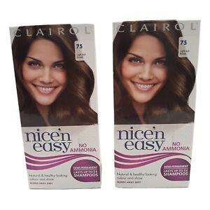 2x Clairol Nice 'n Easy 75 Light Ash Brown Semi-Permanent Hair Dye No Ammonia
