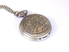 Vintage Bronze Dr Doctor Who Pocket Watch Chain Necklace Time lord