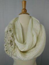 INC International Concepts Crochet Flower Infinity Loop Cowl Scarf Ivory #C289