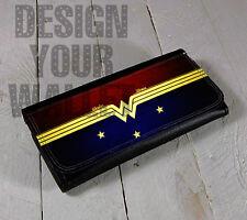 Womens Wallet, Wonder Woman, bi-fold wallet, checkbook wallet, women's gift,