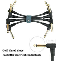 4Pc 6.35mm 1/4 Guitar Effect Pedal Connector Patch Cable Right Angle w Cable Tie