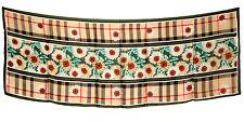 "Women's 100% Satin Silk Scarf / Green / Floral / 68"" X 26"""