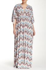 Rachel Pally Zig Zag White Label Printed Kaftan Casual Maxi Dress NWT