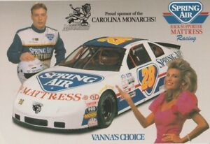 1996 Mike Swaim, Jr. + VANNA WHITE Spring Air Carolina Monarchs NASCAR Hero Card