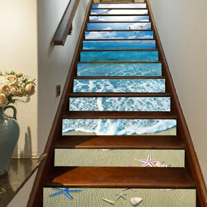 3D Sunshine Beach Starfish Stair Riser Decal Self-adhesive Staircase Sticker