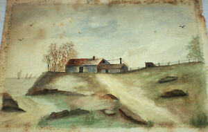 Early 1900s Connecticut , Calista Potter Thresher Antique Watercolor Painting