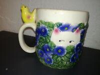 """CLAY ART -TAZZA DA CAFFE' /THE' """"CAT IN THE PRIMROSES"""" MADE IN PORTUGAL"""