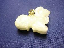 14K gold light green Jade Ram pendant