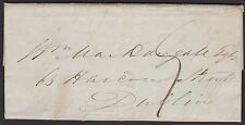 IRELAND, Stampless Cover, Waterford to Dublin, July 8, 1837