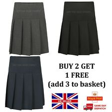 Girls School Skirt Uniform Pleated Waist Black, Grey & Navy Age 2-16yr