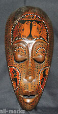 Tribal Mask~Wall Hanging~Mother of Pearl Inlays~Wooden