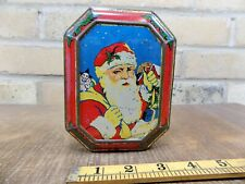 More details for santa claus & toy clown blue bird christmas toffee tin c1930s